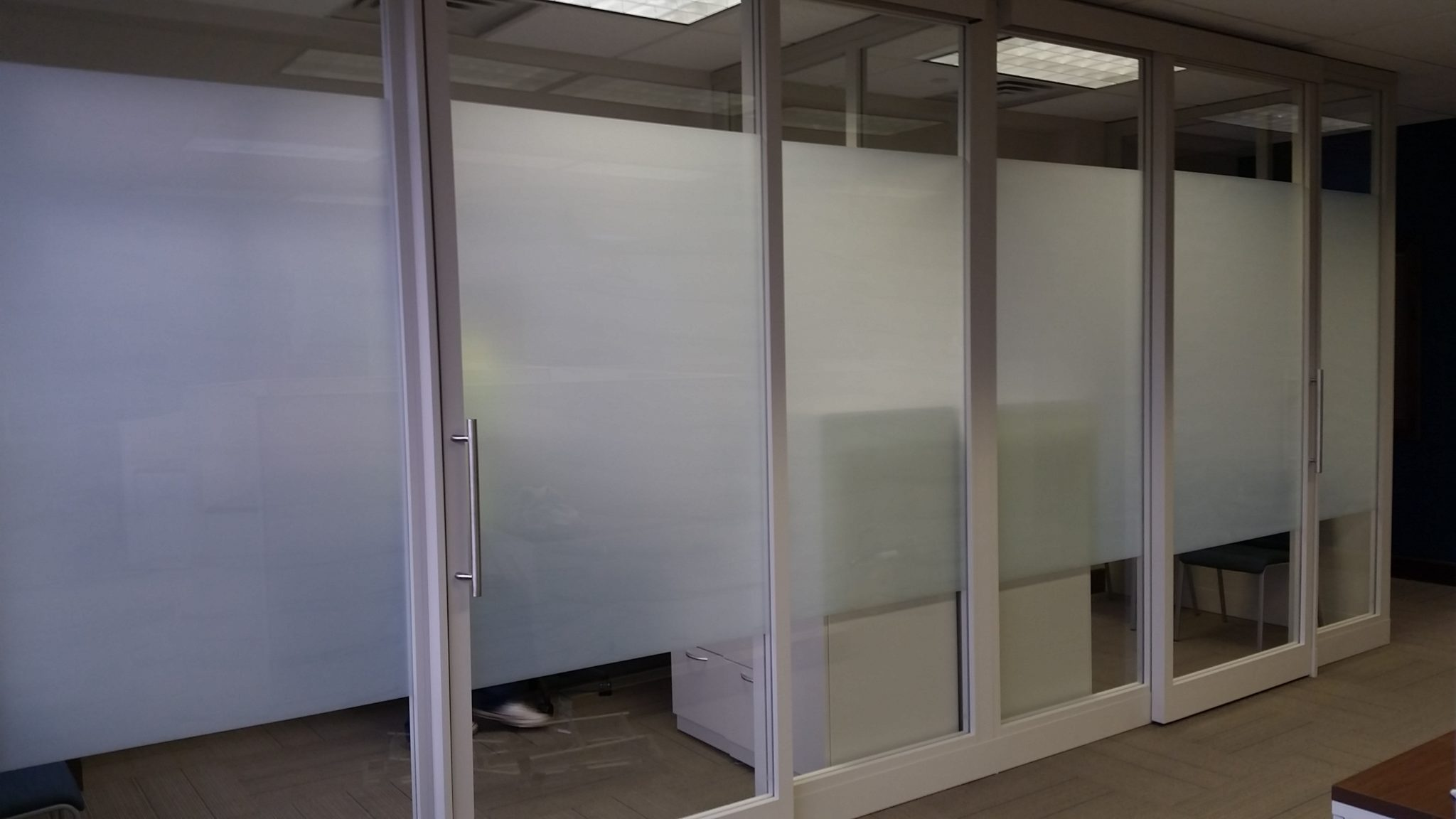 A Band Of 60 Frost Installed In An Interior Office E With Gl Walls